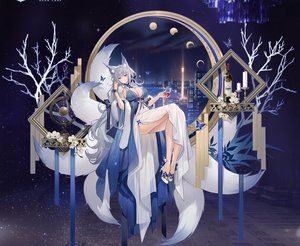 Rating: Safe Score: 77 Tags: animal_ears azur_lane blue_eyes blush breasts building butterfly city cleavage cropped dress drink flowers foxgirl gray_hair long_hair moon multiple_tails night shinano_(azur_lane) sky soaryuna tail User: BattlequeenYume