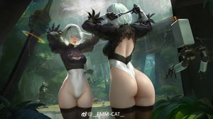 Rating: Questionable Score: 118 Tags: ass cameltoe c-a-t_c-a-t forest gloves headband jpeg_artifacts leotard male nier nier:_automata pod_(nier:_automata) realistic reflection ruins short_hair sword thighhighs tree water watermark weapon white_hair yorha_unit_no._2_type_b yorha_unit_no._9_type_s User: BattlequeenYume
