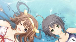 Rating: Safe Score: 81 Tags: anthropomorphism bikini fubuki_(kancolle) kantai_collection kongou_(kancolle) kuruhoro swimsuit water User: luckyluna