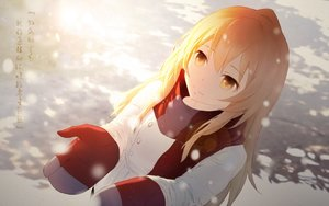 Rating: Safe Score: 98 Tags: aisaka_taiga blonde_hair cangkong gloves long_hair scarf snow toradora translation_request winter yellow_eyes User: Flandre93