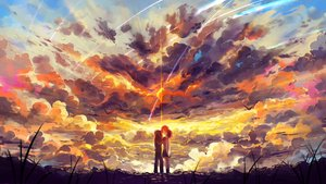 Rating: Safe Score: 89 Tags: clouds haraguroi_you kimi_no_na_wa kiss kneehighs male miyamizu_mitsuha short_hair skirt sky stars tachibana_taki User: FormX