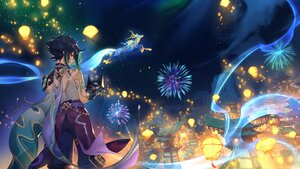 Rating: Safe Score: 31 Tags: all_male black_hair building city fireworks genshin_impact male mask night raijuu_(bakanara) short_hair tattoo xiao_(genshin_impact) yellow_eyes User: Maboroshi