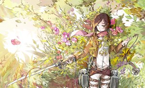 Rating: Safe Score: 78 Tags: black_eyes brown_hair flowers grass leaves mikasa_ackerman scarf shingeki_no_kyojin sword weapon yanzhan User: STORM