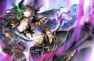 Rating: Safe Score: 22 Tags: black_hair breasts cleavage elbow_gloves fate/grand_order fate_(series) gloves headdress kousaki_rui long_hair magic necklace orange_eyes pointed_ears ribbons semiramis signed skirt wings wink User: luckyluna