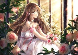 Rating: Safe Score: 175 Tags: brown_eyes brown_hair dress flowers hagiwara_rin long_hair original ribbons rose waifu2x User: mattiasc02