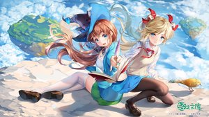 Rating: Safe Score: 56 Tags: 2girls animal aqua_eyes bell bird blonde_hair book brown_hair clouds hat paintmusume pantyhose school_uniform skirt sky thighhighs twintails watermark witch witch_hat User: BattlequeenYume