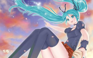 Rating: Safe Score: 55 Tags: aqua_eyes aqua_hair clouds crazypen hatsune_miku necklace ribbons skirt sky thighhighs twintails vocaloid User: MissBMoon