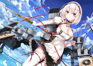 Rating: Safe Score: 68 Tags: anthropomorphism apron azur_lane clouds maid marie_(pixiv31942978) red_eyes short_hair sirius_(azur_lane) sky sword thighhighs water weapon white_hair User: Nepcoheart