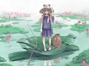 Rating: Safe Score: 36 Tags: animal barefoot blonde_hair frog hat moriya_suwako purple_eyes risa_hibiki short_hair touhou water User: PAIIS