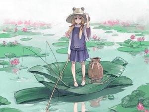 Rating: Safe Score: 49 Tags: animal barefoot blonde_hair frog hat moriya_suwako purple_eyes risa_hibiki short_hair touhou water User: PAIIS