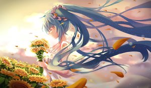 Rating: Safe Score: 25 Tags: aqua_hair dress flowers hatsune_miku long_hair petals resau sunflower twintails vocaloid User: RyuZU