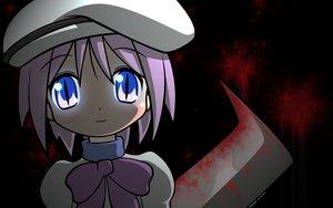 Rating: Questionable Score: 52 Tags: blood blue_eyes blush cosplay higurashi_no_naku_koro_ni hiiragi_tsukasa knife lucky_star parody pink_hair purple_hair short_hair weapon User: TomomiSuzune