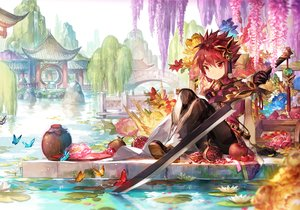 Rating: Safe Score: 10 Tags: all_male apple building butterfly elsword elsword_(character) flowers food fruit male petals red_eyes red_hair scorpion5050 short_hair sword water weapon User: RyuZU