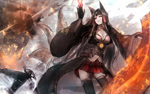 Rating: Safe Score: 102 Tags: aircraft akagi_(azur_lane) animal_ears anthropomorphism azur_lane black_hair breasts cleavage foxgirl gloves long_hair multiple_tails red_eyes skirt tagme_(artist) tail thighhighs User: luckyluna
