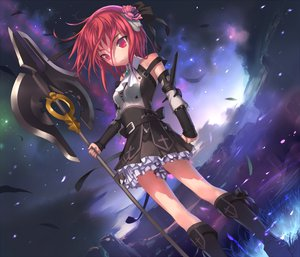 Rating: Safe Score: 81 Tags: armor boots feathers flowers gloves goth-loli headband lolita_fashion red_eyes red_hair ribbons rose short_hair sky uni weapon User: Oyashiro-sama