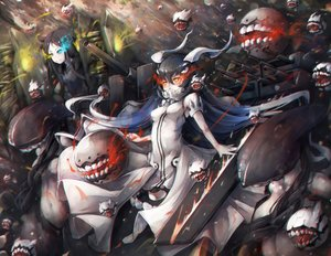 Rating: Safe Score: 128 Tags: anchorage_water_demon anthropomorphism bicolored_eyes breasts escort_fortress_(kancolle) kajaneko kantai_collection orange_eyes ru-class_battleship wa-class_transport_ship weapon User: Flandre93