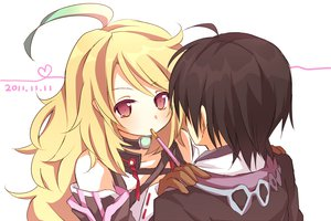 Rating: Safe Score: 46 Tags: blonde_hair food jude_mathis milla_maxwell pocky red_eyes tales_of_xillia User: opai