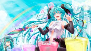 Rating: Safe Score: 76 Tags: aqua_hair blue_eyes bubbles hatsune_miku long_hair miku_append navel rainbow tsukineko twintails umbrella vocaloid User: Wiresetc