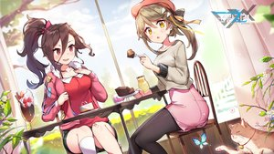 Rating: Safe Score: 50 Tags: 2girls animal blush border_reign brown_hair cake cat chougetsu_(border_reign) clouds drink flowers food fruit hat jehyun logo long_hair mokushihi_(border_reign) pantyhose ponytail red_eyes shorts sky strawberry thighhighs yellow_eyes User: BattlequeenYume