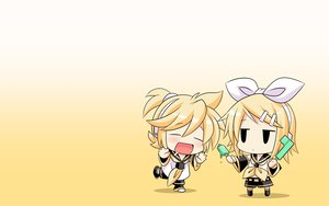 Rating: Safe Score: 50 Tags: blonde_hair chibi gradient kagamine_len kagamine_rin konno_tohiro male popsicle short_hair vocaloid yellow User: SciFi