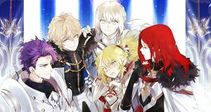 Rating: Safe Score: 15 Tags: aqua_eyes armor bedivere blonde_hair blush cape elbow_gloves fang fate/grand_order fate_(series) gawain gloves group long_hair male mordred ponytail purple_eyes purple_hair red_hair short_hair tagme_(artist) tagme_(character) tristan_(fate/grand_order) white_hair User: otaku_emmy