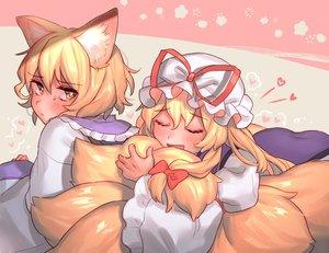 Rating: Safe Score: 45 Tags: 2girls aliasing animal_ears blonde_hair blush bow brown_eyes dress foxgirl hat heart hug long_hair masanaga_(tsukasa) multiple_tails short_hair tail touhou yakumo_ran yakumo_yukari User: otaku_emmy