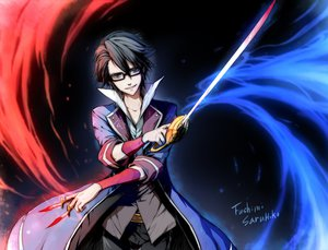 Rating: Safe Score: 33 Tags: black_hair blood blue_eyes fushimi_saruhiko glasses k_(anime) knife linjie male signed sword weapon User: STORM