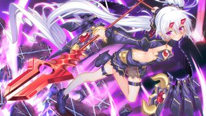 Rating: Safe Score: 31 Tags: ass boots breasts cleavage demon dress garter horns long_hair magic pointed_ears purple_eyes see_through spear tagme_(character) tonchan twintails weapon white_hair yuusha_no_yabou User: sadodere-chan