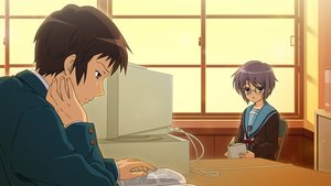 Rating: Safe Score: 21 Tags: blush book brown_eyes brown_hair computer game_cg glasses kyon nagato_yuki purple_hair seifuku short_hair suzumiya_haruhi_no_tsuisou suzumiya_haruhi_no_yuutsu User: SciFi