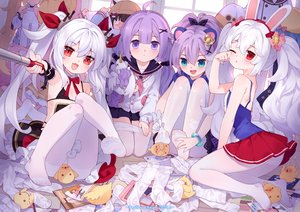 Rating: Safe Score: 176 Tags: animal animal_ears anthropomorphism azur_lane bird blonde_hair blush bunny_ears eldridge_(azur_lane) green_eyes javelin_(azur_lane) laffey_(azur_lane) loli long_hair manjuu_(azur_lane) mutsuki_(azur_lane) pantyhose ponytail purple_eyes purple_hair red_eyes school_uniform skirt tsubasa_tsubasa twintails unicorn_(azur_lane) vampire_(azur_lane) watermark white_hair wink User: BattlequeenYume