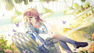 Rating: Safe Score: 63 Tags: alpha_(ypalpha79) blush brown_hair butterfly drink flowers food User: BattlequeenYume