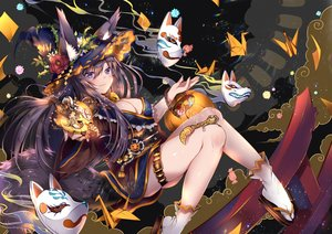 Rating: Safe Score: 90 Tags: animal animal_ears black_hair blush breasts cat_smile cleavage flowers foxgirl garter halloween hat horns long_hair mask multiple_tails original pumpkin purple_eyes rose tail usagihime witch_hat User: RyuZU