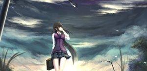 Rating: Safe Score: 152 Tags: black_hair brown_eyes clouds kikivi long_hair original skirt sky User: FormX