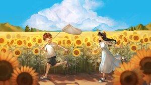 Rating: Safe Score: 17 Tags: clouds dress flowers loli male original sky sunflower yog_harukawa User: Fepple