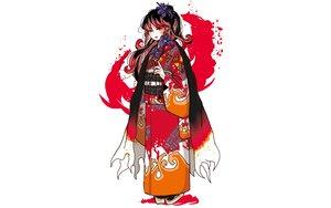 Rating: Safe Score: 27 Tags: black_hair brown_eyes cape flowers japanese_clothes kimono long_hair original ponytail tagme_(artist) white User: otaku_emmy