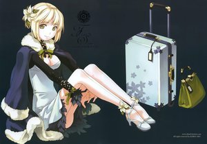 Rating: Safe Score: 110 Tags: blonde_hair cleavage dress flowers h2so4 original ribbons scan short_hair User: FormX