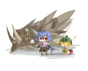 Rating: Safe Score: 38 Tags: 2girls armor chibi flandre_scarlet haipa_okara monster_hunter parody remilia_scarlet touhou vampire weapon User: PAIIS