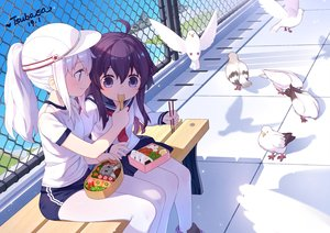 Rating: Safe Score: 48 Tags: 2girls akatsuki_(kancolle) animal bird bloomers blue_eyes blush food gym_uniform hat hibiki_(kancolle) kantai_collection long_hair pantyhose ponytail purple_eyes purple_hair rooftop seifuku signed skirt tsubasa_tsubasa white_hair User: otaku_emmy