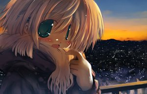 Rating: Safe Score: 63 Tags: blush city green_eyes jpeg_artifacts original sakaki_(noi-gren) scarf sunset User: Zolxys