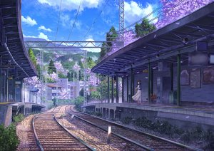 Rating: Safe Score: 79 Tags: building clouds dress niko_p original petals scenic sky train tree User: RyuZU