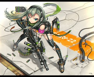 Rating: Safe Score: 85 Tags: elbow_gloves garter_belt gia gloves green_eyes green_hair gun headphones long_hair original scarf signed thighhighs weapon User: FormX