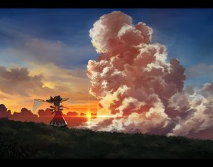 Rating: Safe Score: 110 Tags: cirno clouds fairy hat landscape sasajqazwsx scenic sky summer sunset touhou wings User: gnarf1975