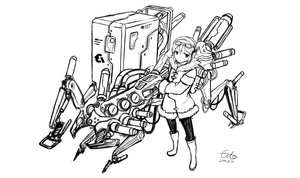 Rating: Safe Score: 19 Tags: brown_eyes gia gun monochrome original robot signed sketch weapon User: FoliFF