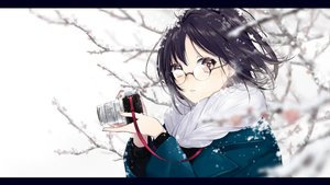 Rating: Safe Score: 64 Tags: black_hair camera close glasses original pink_eyes short_hair snow sogawa66 User: RyuZU
