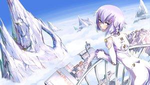 Rating: Safe Score: 67 Tags: ar_tonelico ar_tonelico_iii blush bodysuit clouds kamotama purple_eyes purple_hair short_hair skintight sky tilia User: PAIIS