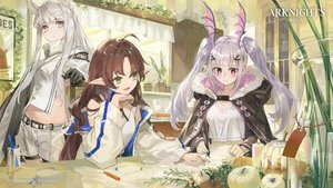 Rating: Safe Score: 41 Tags: amiya_(arknights) arknights brown_hair cape food gloves gray_eyes gray_hair hoodie kobuta logo long_hair manticore_(arknights) myrtle_(arknights) pink_eyes pink_hair platinum_(arknights) pointed_ears shorts twintails white_hair User: Nepcoheart