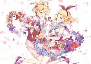 Rating: Safe Score: 6 Tags: aqua_eyes blonde_hair blush dress flowers headband kagamine_len kagamine_rin kyashii_(a3yu9mi) petals short_hair shorts vocaloid User: RyuZU