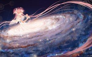 Rating: Safe Score: 184 Tags: ball bow dress earth kaname_madoka long_hair mahou_shoujo_madoka_magica pink_hair planet rimuu space stars twintails ultimate_madoka wings User: luckyluna