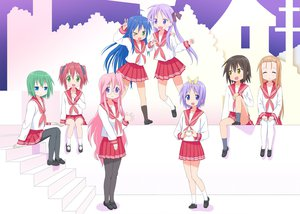 Rating: Safe Score: 51 Tags: blue_eyes blue_hair brown_hair green_eyes green_hair hiiragi_kagami hiiragi_tsukasa iwasaki_minami izumi_konata kobayakawa_yutaka kusakabe_misao long_hair lucky_star minegishi_ayano pink_hair purple_eyes purple_hair red_hair school_uniform short_hair tagme takara_miyuki yellow_eyes User: w7382001