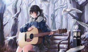 Rating: Safe Score: 70 Tags: animal bird black_hair bow earmuffs guitar instrument long_hair nagul orange_eyes original school_uniform skirt tree winter User: BattlequeenYume